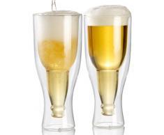 Bicchiere a forma di bottiglia di birra -doppia parete di vetro 0,2 l in set di 2