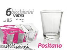 GICOS IMPORT EXPORT SRL Set 6 Bicchieri Bicchierini in Vetro Trasparente 85 ml chupiti digestivo Positano JOZ-791314
