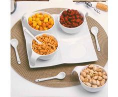 Set aperitivo 9 pz piatto ciotole e cucchiaini in ceramica per antipasti finger food buffet bar A15