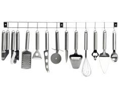 Kitchen Artist MEN110 - Barra 12 Utensili da Cucina in Acciaio Inox