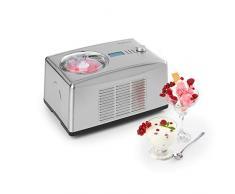 Klarstein Yo & Yummy - Gelatiera & Yogurtiera 2 in 1, Gelati pronti in 5-60 minuti, Funzione refrigerante, 1,5 L, Include una spatola per gelato e un bicchiere graduato, Acciaio Inox