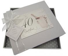 Bianco Carte cotone 40 ° con il testo in inglese e spina per il secchio champagne o libro degli ospiti