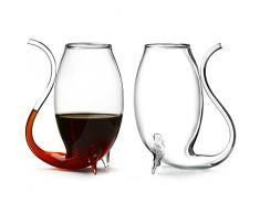 bar@drinkstuff Bicchieri forma unica di vino / brandy con paglia integrata, set di 2 bicchieri, 80 ml