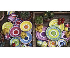Rose & Tulipani R18010TA18 Servizio tavola Cefalù, Multicolore, 18 pezzi