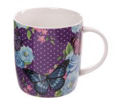 Puckator MUG166 - Tazza design Chintz, motivo farfalle/fiori, 8 x 11,5 x 9 cm