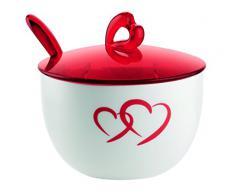 Guzzini Love Zuccheriera con Cucchiaino, Porcellana, Rosso Trasparente