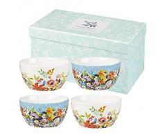 Collier Campbell - Set regalo, ciotole da colazione, 300 ml, motivo floreale, serie: Flower Patch & Grandiflora, 4 pz