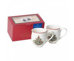 Villeroy & Boch Toys Delight Mug con Manico Albero Natale, 2 Pezzi, Porcellana, Bianco, Man 2pz. ALB.Natale, 2 unità
