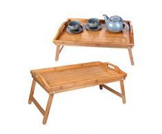Schramm® - 2 vassoi pieghevoli in bambù per la colazione a letto, con piedini