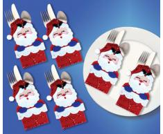 Design Works - Segnaposto con Tasca Porta-Posate, Faccia di Babbo Natale, Multicolore