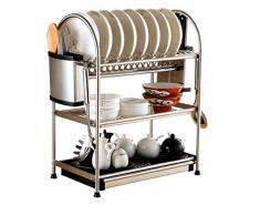 B-fengliu Scaldapiatti 3-Tier Chrome scolapiatti Scolapiatti da Cucina con stoviglie e portaposate / 17.5x10.4x22.4 Pollici