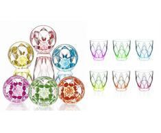 Bicchieri ninphea color acqua 6 pezzi cristallo rcr cristalleria