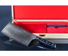 Stallion, coltello Damasco – Grosso coltello da chef, lama in acciaio Damasco, fornito in pregiata scatola regalo – un regalo ideale per amici