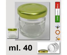 VASETTO BARATTOLO VETRO ml. 40 con tappo capsula in confezione da 27 pezzi made in Italy ideale per per monodose miele