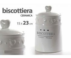 Gicos BISCOTTIERA in Stile Shabby 23 CM in Ceramica Bianca