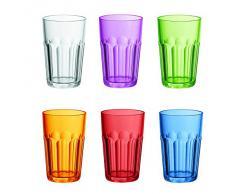 Guzzini Happy Hour Set 6 Bicchiere Molato Alto, Materiale SAN, 420 cc, Multicolore, 8x41 cm, 6 Unità