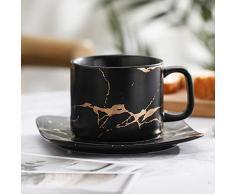 Tazza di caffè,Tazza in Ceramica Tazza di caffè Espresso Set di Tazze di caffè con piattino e Cucchiaio tè pomeridiano [Tazza di Latte] Tazze e piattini Bere Tazza Coppie-Nero 250ml