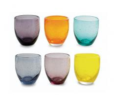 Villa d'Este Home Tivoli Acapulco Set Bicchieri, Vetro, Multicolore, 6 Pezzi, 10 cm, Diametro 9 cm