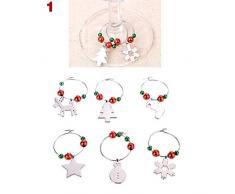 PerGrate - Set di ciondoli segnaposto per calici da vino, per Natale, 1