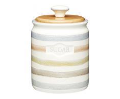 Kitchen Craft Classic Collection – Contenitore per Zucchero in Ceramica a Strisce, 800 ml (28 ml), Colore: Panna