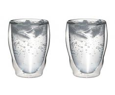 2 x 460 ml XL a doppia parete termica bicchieri forma d' onda con effetto ondulato per cappuccino, latte macchiato, cocktail, tè, succhi, birra, ghiaccio ecc. aquartus di Feelino