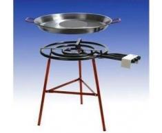 """Set per Paella """"Carmona"""" 3 fiamme, bruciatore gas 60cm (24,5 KW), Padella 80cm, base rinforzata, incluso tubo flessibile e riduttore di pressione"""