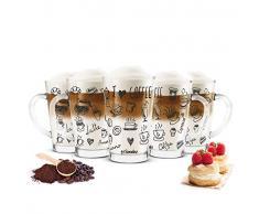 Sendez - Set di 6 Bicchieri da Latte Macchiato da 300 ml e 6 cucchiaini in Acciaio Inox (Gratis), in Vetro, con Stampa Nera