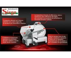Sirge AFFPROF25 Affettatrice Professionale SemiAutomatica a gravità [320 WATT - Lunghezza taglio 19cm] LAMA IN ACCIAIO INOX INOSSIDABILE da 25 cm diametro 320 Watt con gruppo di affilatura Professionale e 3 SISTEMI DI SICUREZZA