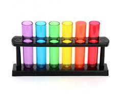 CKB LTD - Set di bicchieri per liquore a forma di fiale da laboratorio, in plastica, con supporto, Multicolore, Set di 6
