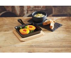 Kitchencraft ARTFRY18 Artesa Mini Padella in Ghisa con sottopentola, 18 x 12,5 x 2,5 cm, con tagliere in legno di acero