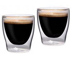 Feelino Bloomino - Bicchierini per caffè espresso, a parete doppia, set da 2, 80 ml, termici con effetto ondulato, 2 pezzi