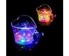 CatcherMy Tazza a Forma di Cuore a Forma di Cuore Tazza Lampeggiante Automatica a Forma di Cuore - Tazza a Forma di Bicchiere dAcqua Sensore colorato Luminoso Tazza da Festa Bere Tazza di Coca Cola