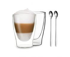 Duos by Feelino - Set di 2 bicchieri termici a doppia parete da 310 ml + 2 cucchiai, adatti anche per tè, tè freddo, succhi, acqua, coca cola, cocktail.