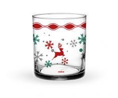 Excelsa Christmas Set Bicchieri, Trasparente/Multicolore, 8x8x9 cm, 3 unità