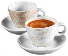Ritzenhoff & Breker Cornello Set da Espresso: 2 Tazzine con Piattini in Porcellana , Crema, 80ml