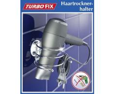 Cromo fissaggio senza trapano 14 x 7.5 x 11.5 cm Acciaio WENKO 18770100 Turbo-Loc porta asciugacapelli