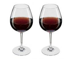 Viva Haushaltswaren – Accadrà 2 Bicchieri di Vino Rosso/Bicchieri di Vino in pregiato, Trasparente Plastica (policarbonato) ca. 250 ML