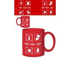 1art1 Natale - Albero, Calzo, Renna, Candela, Stella, Icone Tazza da caffè Mug (9 x 8cm)