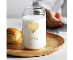 CXQ Lattine Creative Bicchiere Trasparente Tazza di Latte for Uso Domestico Tazza di caffè Tazza di Coca Cola Tazza for Bevande Fredde -400ml