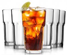 Confezione 6 Bicchieri in Vetro , 350ML Bicchiere da cocktail Vetro per Acqua Potabile, Birra, Succo di Frutta, Coca Cola,Soda