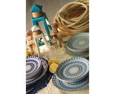 Villa d'Este Home Tivoli la Isla Set Servizio Piatti, Porcellana/Gres, Multicolore, 18 Pezzi