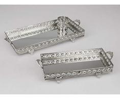Formano - Vassoio rettangolare con specchio, colore: Argento
