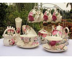 set da tè European Style China Di Osso, La Farfalla Si Sofferma Sul Fiore Stampato In Ceramica Porcellana Tazza Di Tè Insieme Con Coperchio E Piattino, supporto metallico nella foto non è incluso