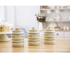 Kitchencraft – Barattolo per caffè in ceramica a righe, collezione Classic, 800 ml (28 ml), colore: panna