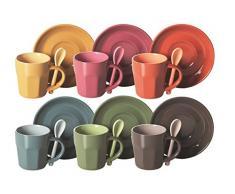 Excelsa Confezione Tazze da Caffè con Cucchiaino e Piattino, Ceramica, Multicolore, 6 Pezzi