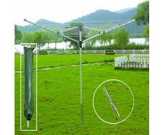 FunkyBuys 4 bracci 40 m & 50 m Garden stendibiancheria stendino stendibiancheria bloccaggio, free standing rack ombrello pieghevole con presa a terra, 50 M