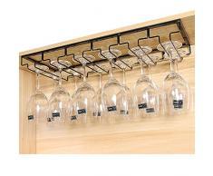 Multifunzione Acciaio Inossidabile Porta bottiglie da vino Vino Bicchiere Gruccia Rack Hanger Coppa Vetro Titolare Scaffale Portabicchieri per Bicchieri calici da vino Champagne con viti(1 Righe)