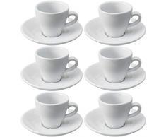 Viva-Haushaltswaren - 6 tazzine da caffè espresso, robusta struttura in porcellana bianca, 2° scelta