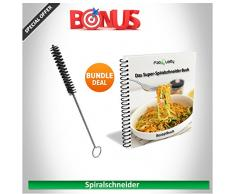 Mano Premium fresa a spirale per ortaggi patate spaghetti - con pacchetto cookbook e contiene la spazzola per la pulizia - FabQuality zucchine, cetrioli, asparagi sbucciatore Schneider, cetrioli peelers, carote grattugia carote
