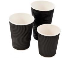 Bicchiere di carta triplo strato da 355 ml increspato nero per tè e caffè americano - 500 pezzi